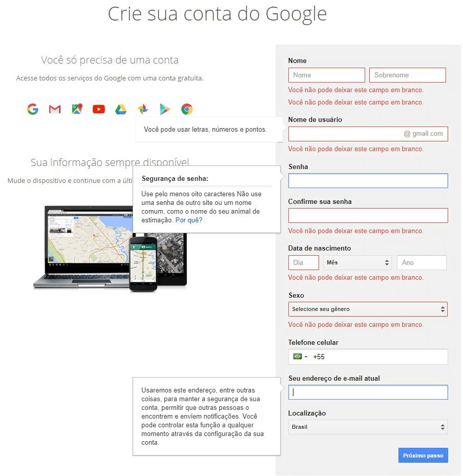 criar conta gmail google