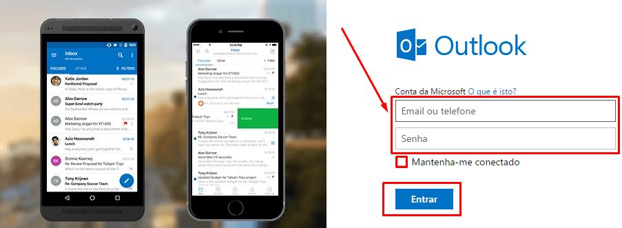 login para escrever o seu email e sua senha